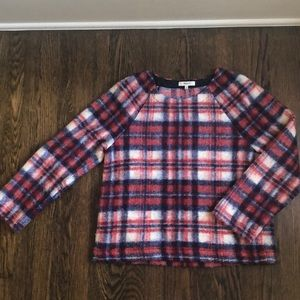 Madewell plaid wool, poly and acrylic pullover